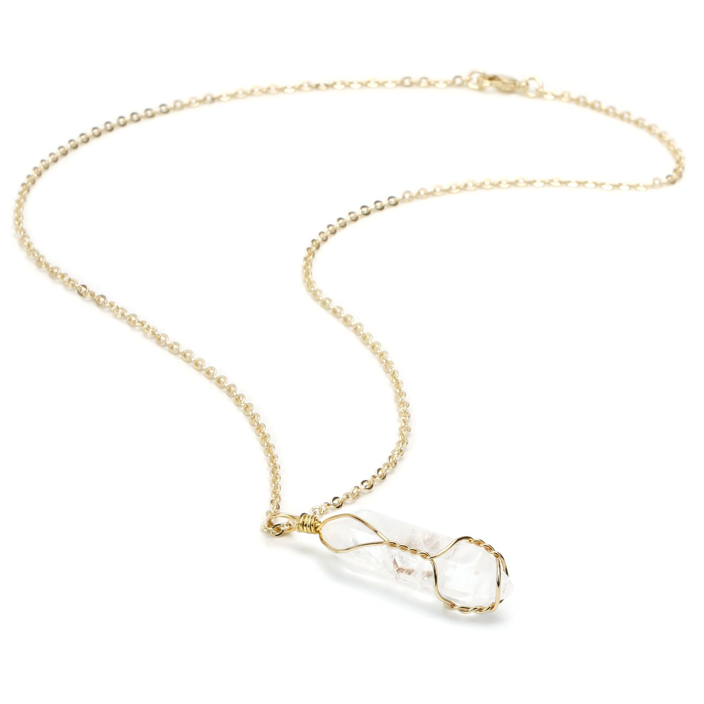 BOUTIQUELOVIN Clear Quartz Genuine Gemstone Pendant Necklace in Gold Tone on 20'' Chain (Quartz Crystal)