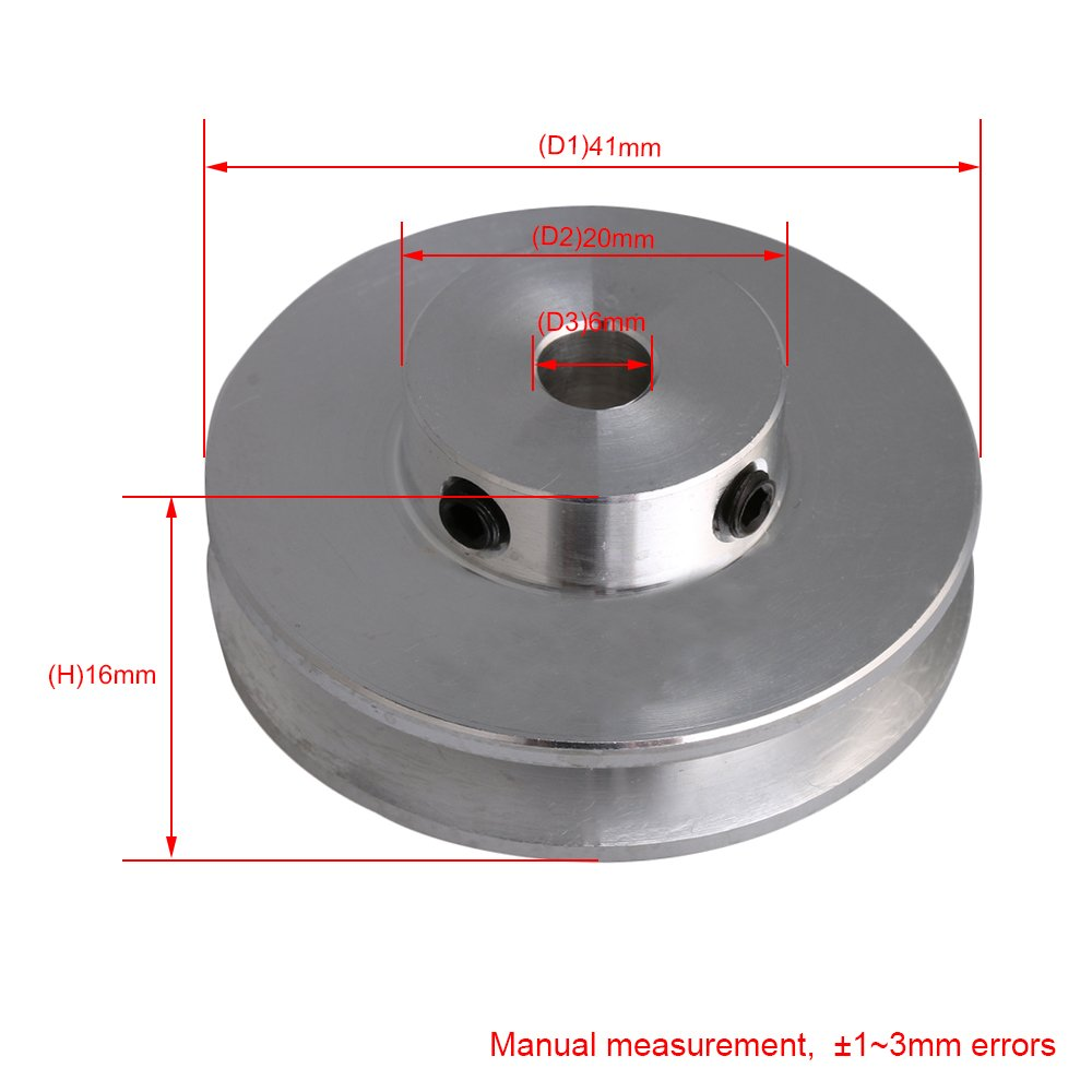 BQLZR 31x15x5MM Silver Aluminum Alloy Single Groove 5MM Fixed Bore Pulley for Motor Shaft 3-5MM PU Round Belt M4180410054