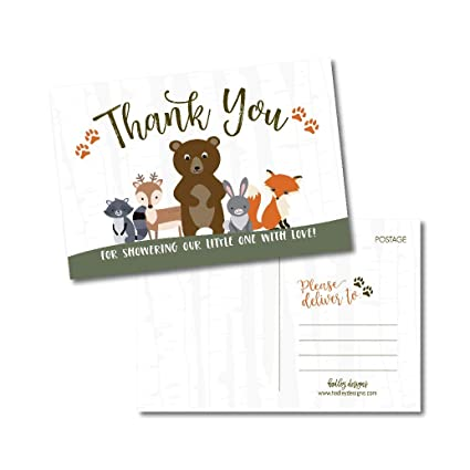 photograph about Printable Baby Shower Thank You Cards titled 25 Woman or Boy Woodland Youngster Shower Thank Oneself Take note Card The vast majority Established, Blank Lovely Pets Gender Make clear Impartial Sprinkle Postcards, No Envelope Expected For