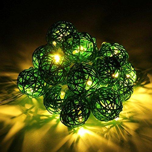 20 Piece Decorative Wicker Balls Spheres Amber Green Rattan Ball Vase Filler With String Light Ornament Decoration Bowl Filler Great For (Light Green Ball Ornament)