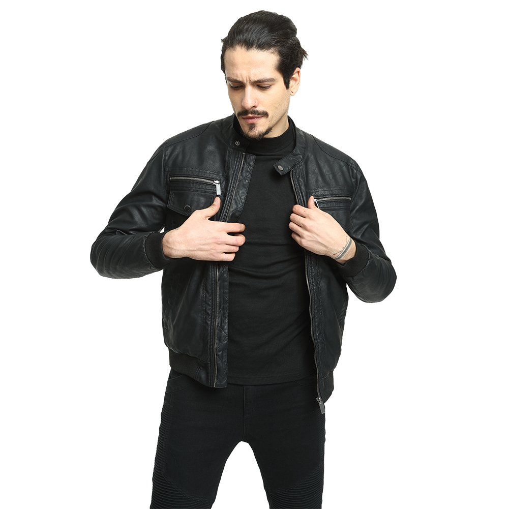 3fe5fa7af Men's Leather Jacket, PUREMSX Smooth Lamb Faux Leather Short Quilted Bomber  Coat