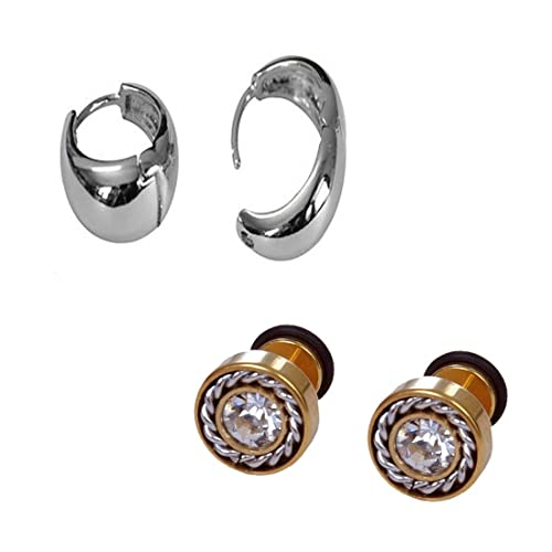 1c38ac8a0 Buy Chooz Designer Studio Summer Collection Round Diamond Gold Plated Stud  Earring and Silver Colour Kaju Bali Earring for Men (Pack of 2) Online at  Low ...
