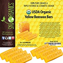 USDA Organic Yellow Beeswax Bars by Sky Organics (8x1oz) -Superior Quality Pure Bees Wax No Toxic Pesticides or Chemicals - 3 x Filtered, Easy Melt Bricks - For DIY, Candles, Skin Care, Lip Balm