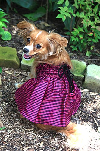 - Dog in the Closet, The Lanna Collection - Fuchsia Checked Silk Dress with Crochet Trim