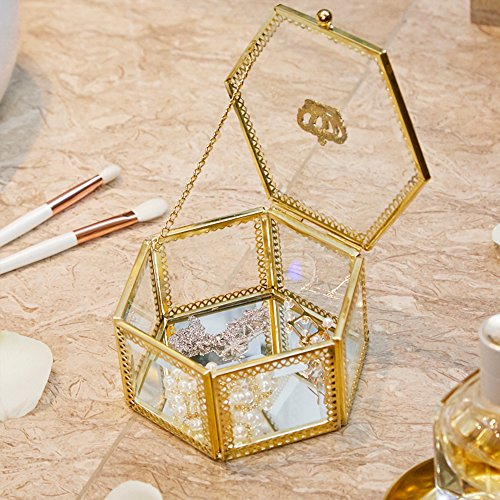 PuTwo Gold Trinket Box, Vintage Jewelry Box Jewelry Organizer Handmade Brass Edge Vintage Mirrored Glass Hexagonal Vanity Box for Necklaces Bracelets Rings Terrarium Plant Planter - ()