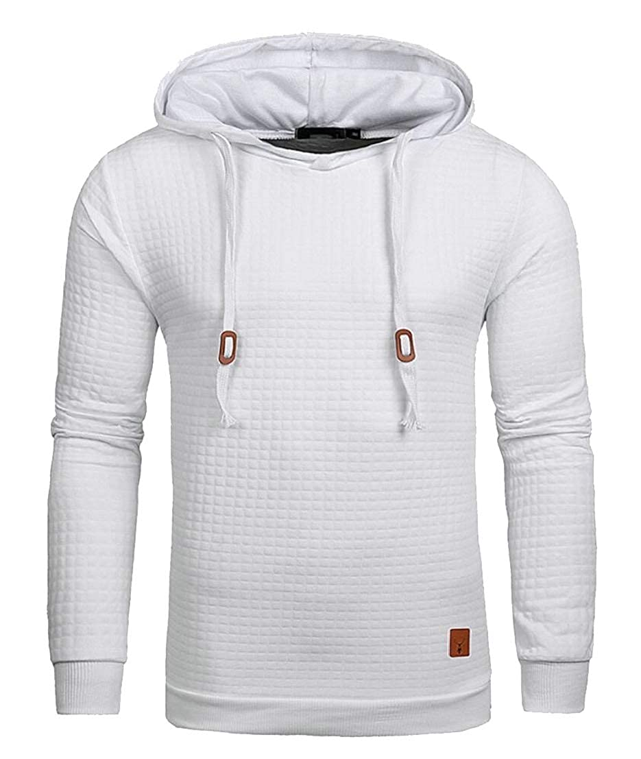 desolateness Men Square Quilted Long Sleeved Hoodies Pullover Sweatshirt