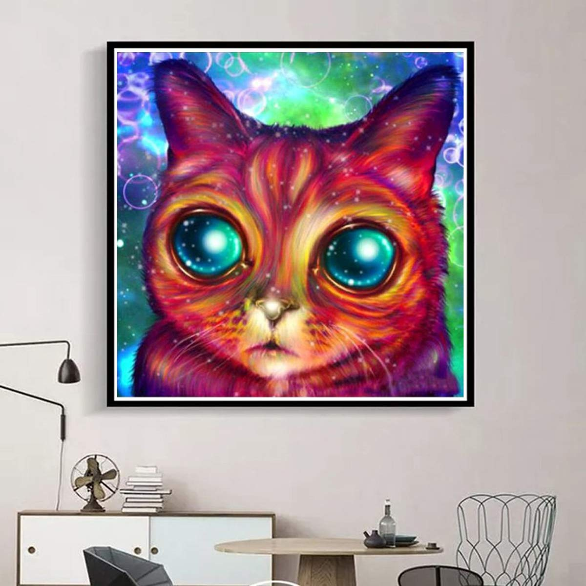 Big-Eyed Cat Animal Rhinestone Embroidery Cross Stitch Pictures Arts Craft Home Wall Decor 11.8x11.8 inch DIY 5D Diamond Painting Kits for Adults Full Drill