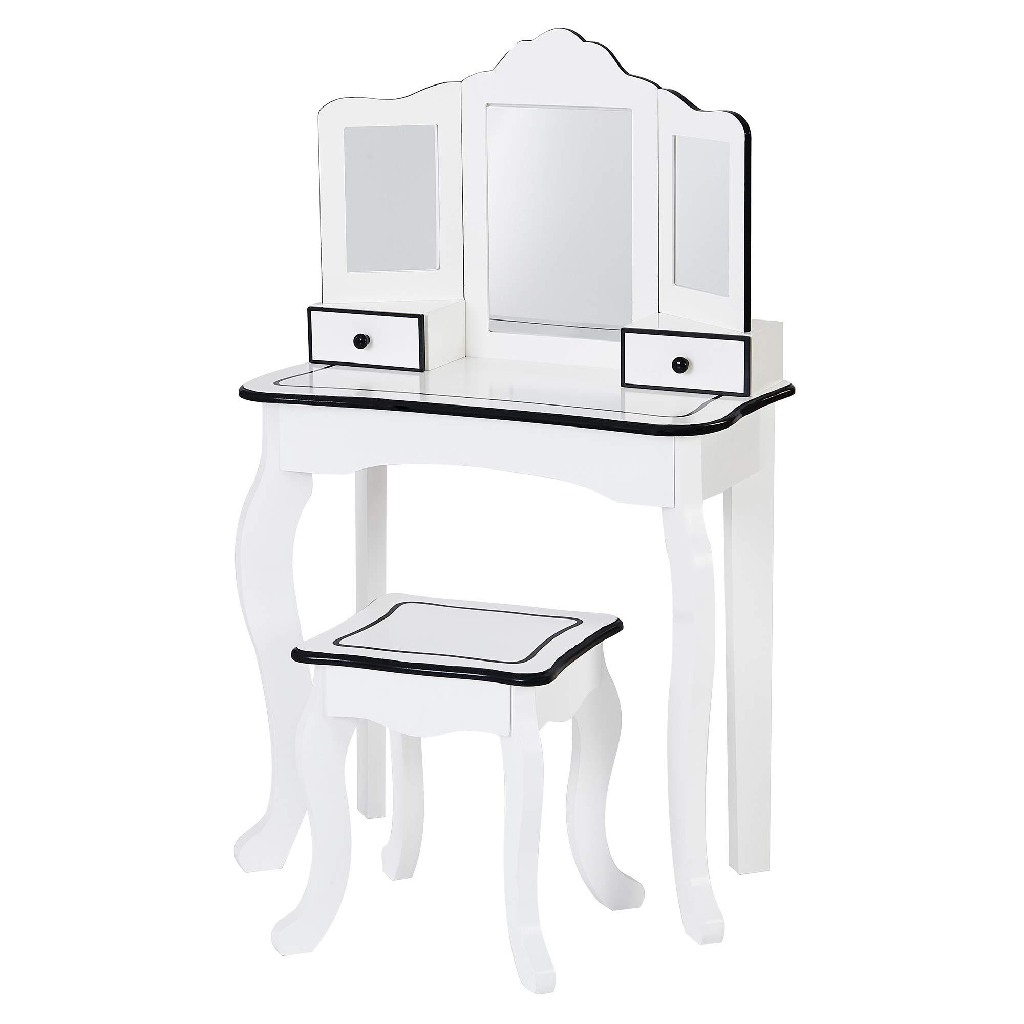 Teamson Kids - Little Lady Adriana Play Vanity Set - White / Black by Teamson Kids
