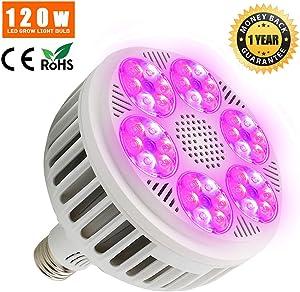 Derlights 120W LED Grow Light Bulb, Full Spectrum Plant Lights Bulb for Indoor Plants Garden Hydroponics Greenhouse Veg Flower, E26 Socket
