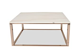 Amazon Com Edloe Finch White Marble Coffee Table Modern Rose Gold