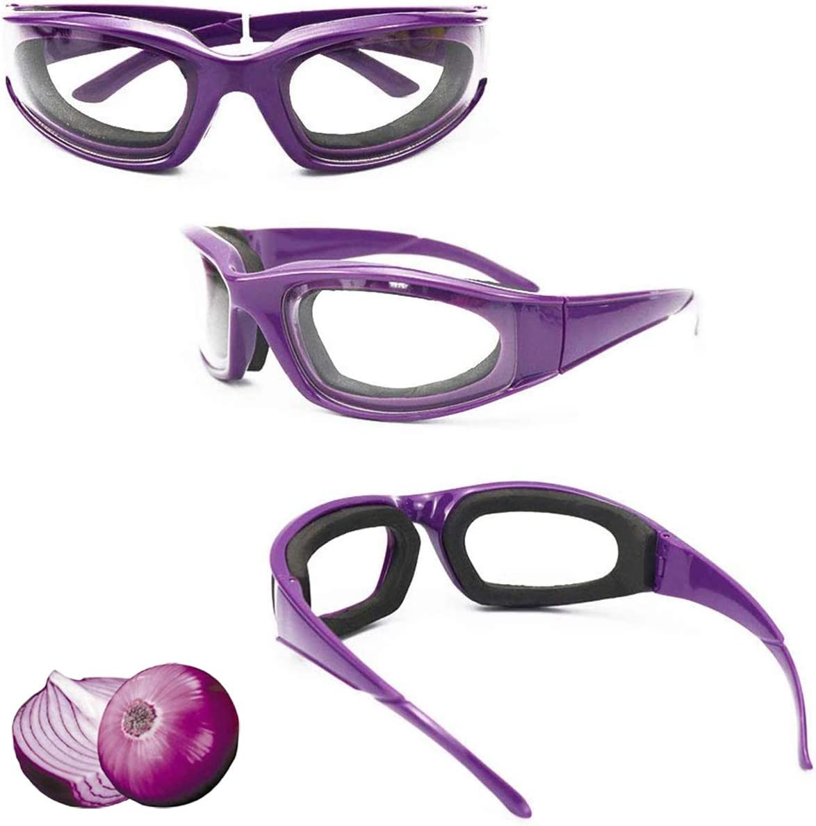 3 Pieces Onion Goggles Glasses, Anti-Fog No-Tears Kitchen Onion Glasses with Inside Sponge, Kitchen Gadget for Chopping Onion Cooking Grilling Dust-proof, Eye Protector for Women Men Cleaning Kitchen: Kitchen & Dining