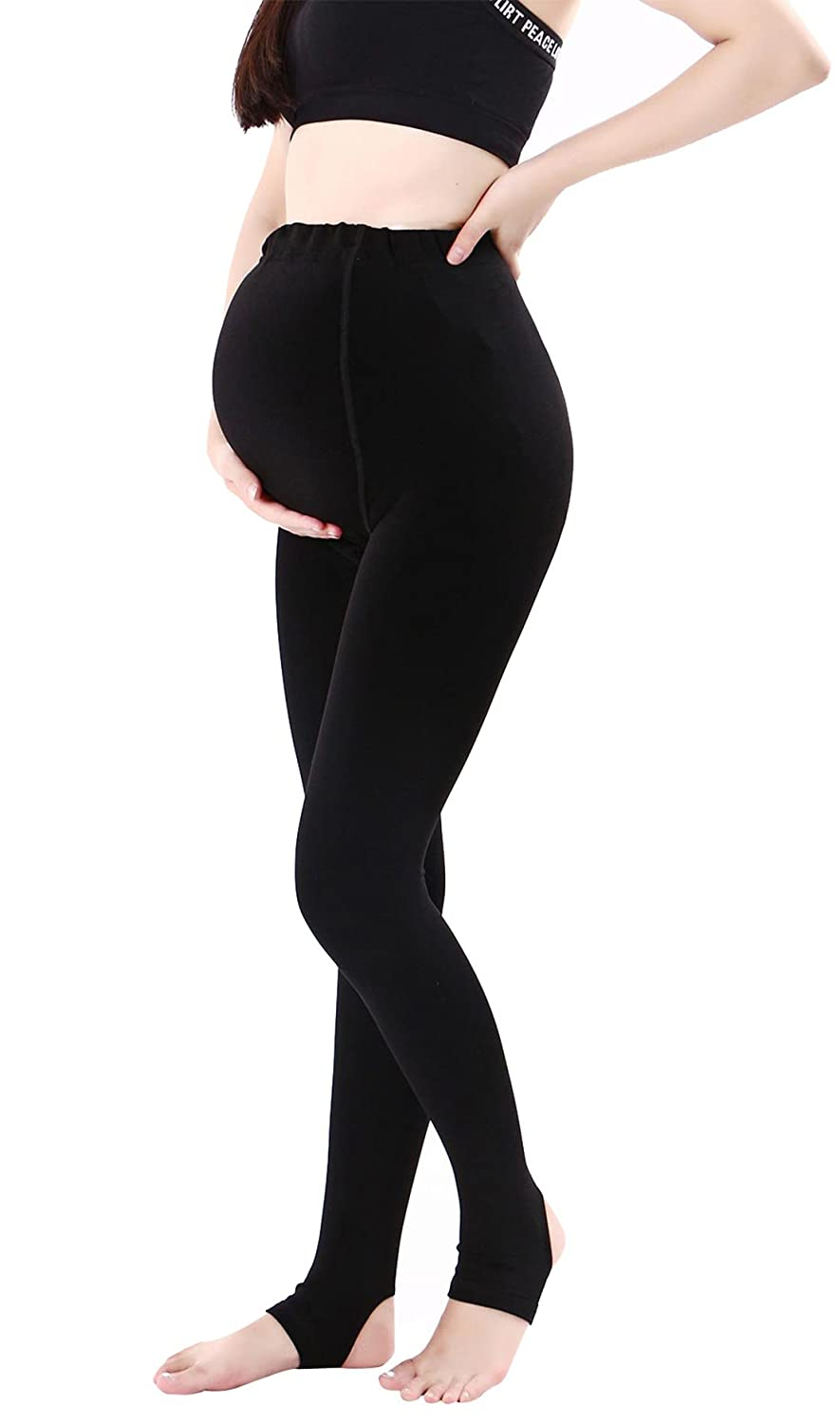 Canwen Klaen Winter's Maternity Leggings Belly Support Soft Strechable Stockings