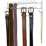 Evelots Tie & Belt Rack, Wall Mounted Hanger, Holds 27 Items, White