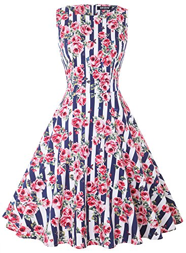 1950's Floral Spring Garden Rockabilly Swing Prom Party Cocktail Dress ()