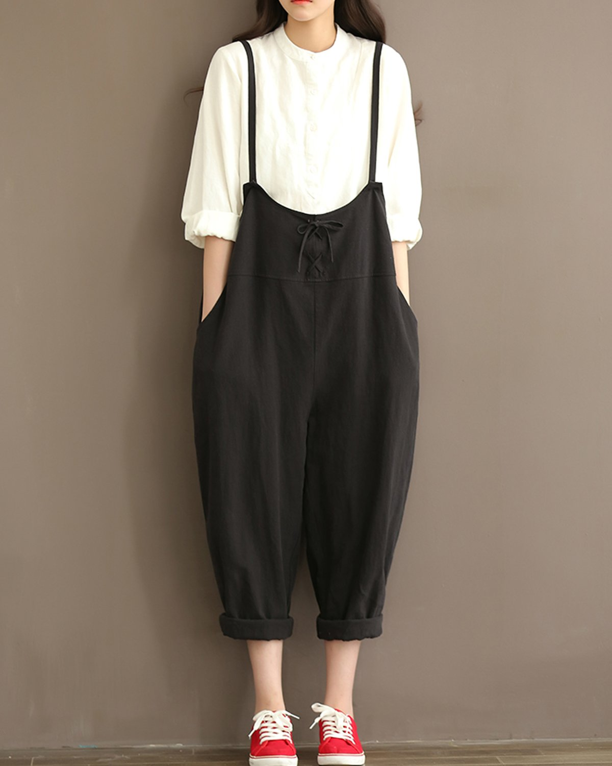 GZBQ Overalls for Women Casual Cotton Jumpsuit Plus Size Baggy Bib Wide Leg Overalls Pants Black 2XL by GZBQ (Image #4)