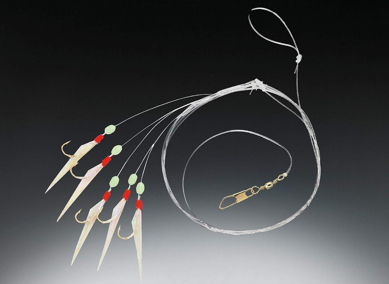 Behr Heringssystem mit echter Fischhaut und Fluo Perlen 6 Haken Gr 4