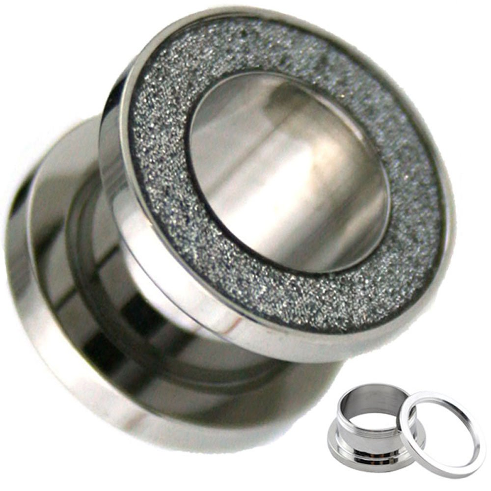 GA26S Piercing Deals Sandpaper Texture Silver Top Surgical Steel Ear Tunnel Plugs Sold Pair