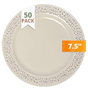 Party Joy 'I Can't Believe It's Plastic' 50-Piece Plastic Salad Plate Set | Lace Collection | Heavy Duty Premium Plastic Plates for Wedding, Parties, Camping & More (Ivory)
