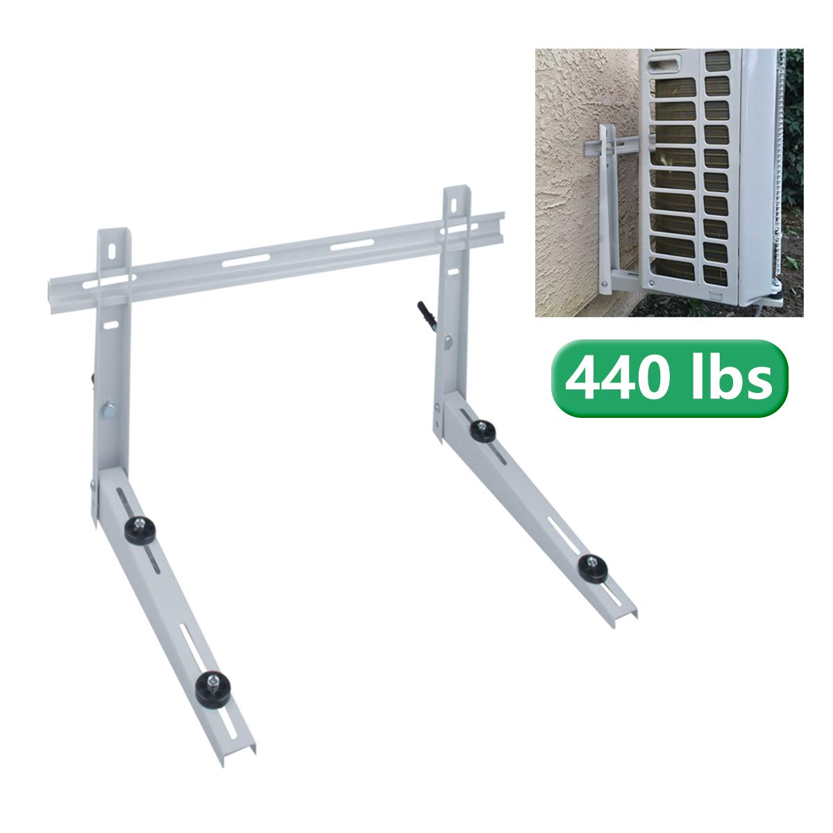 Forestchill Wall Mount Bracket with Cross Bar, fits Mini Split Ductless Outdoor Unit Air Conditioner Condensing Unit Heat Pump System Condenser, Universal, Support up to 440lbs, 18000-36000BTU by Forestchill