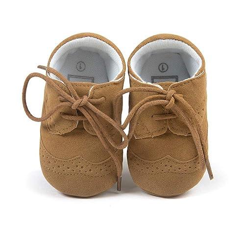 OOSAKU Zapatos de los bebés Zapatillas de Cuero con Cordones de PU Mocasines de Cuna para niños pequeños: Amazon.es: Zapatos y complementos