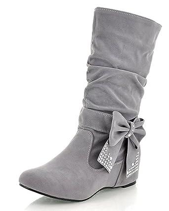 femme bottine chaussure botte avec décoration gris K4NdHO2Ia
