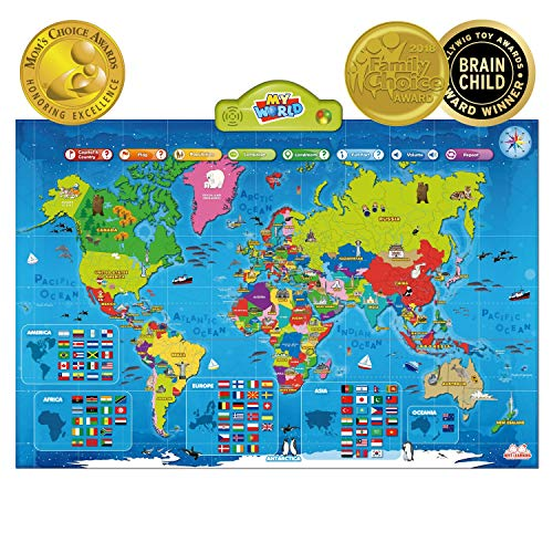 BEST LEARNING i-Poster My World Interactive Map - Educational Talking Toy for Kids