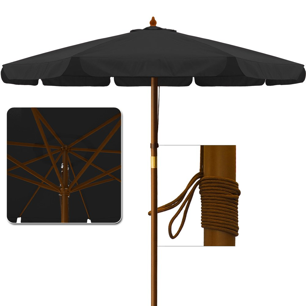 Wood lounge chairs qty 4 striped fabric with adjustable heights - 3 5 M Garden Parasol Sun Shade Patio Umbrella Outdoor Sunshade Canopy Sun Protection Black