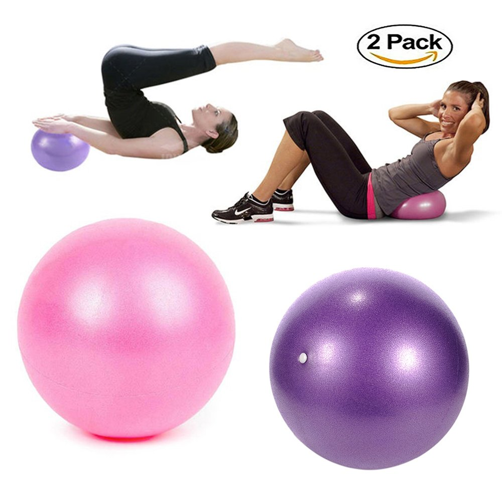 TopBine Exercise Pilates Ball -(2 Pcs) Stability Ball for Yoga, Barre, Training and Physical Therapy- Improves Balance, Core Strength, Back Pain & Posture- Comes with Inflatable Straw