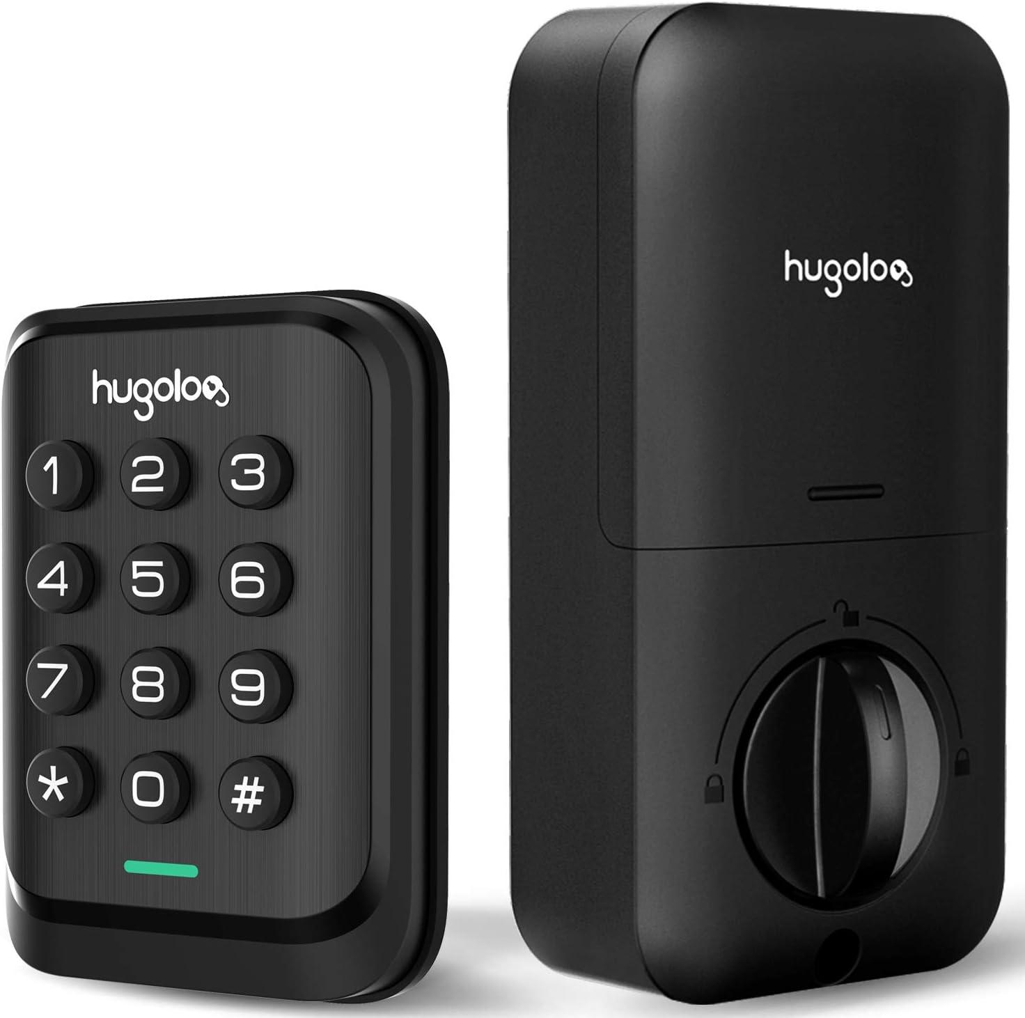 Keyless Entry Door Lock, HUGOLOG Electronic Keypad Deadbolt Lock, Auto-Lock, Easy to Install & Program, Battery Backup for Front Door, Garage Door, Back & Side Door, Bedroom Door, Black