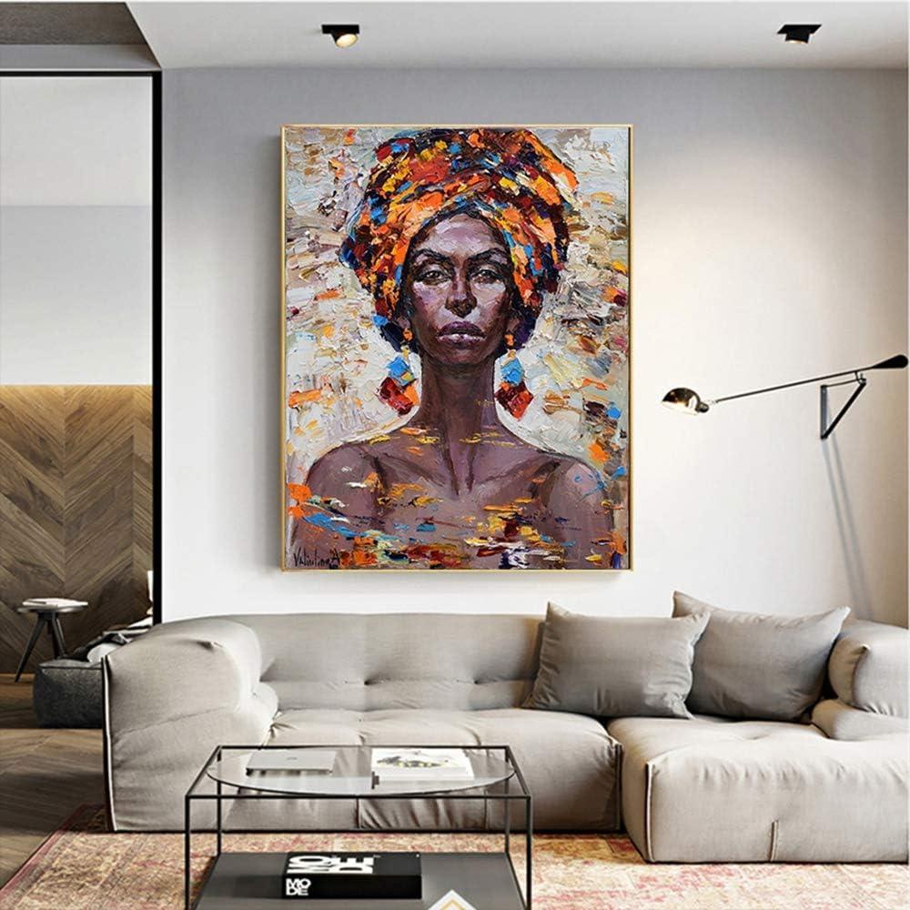 XCSMWJA Arte De Pared Retrato Pintura De Mujer Africana Lienzo Pintura Carteles E Impresiones Moderna Decoración del Hogar Cuadros En Lienzo 60X90Cm