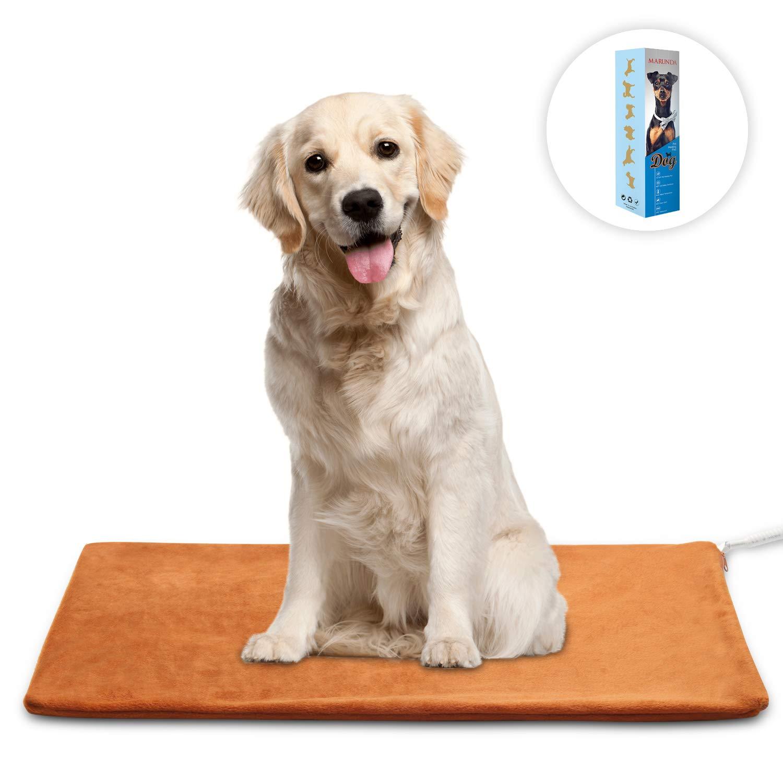 MARUNDA Pet Heating Pad Large,Dog Cat Pet Heating Blanket Indoor Waterproof,Auto Constant Temperature Warming 15x24 inches Bed with Chew Resistant Steel Cord