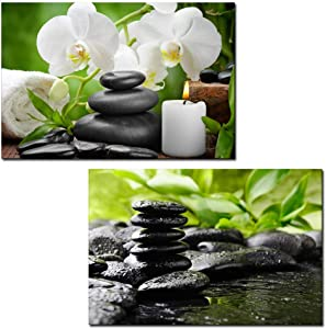"""wall26 - 2 Panel Canvas Wall Art - Spa Still Life with Black Zen Stones and White Flowers - Giclee Print Gallery Wrap Modern Home Art Ready to Hang - 16""""x24"""" x 2 Panels"""