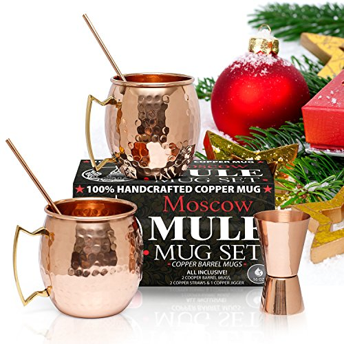 Gift Set Vodka (Moscow Mule Copper Mugs - Set of 2 - 100% HANDCRAFTED - Pure Solid 16oz Copper Mugs Gift Set with BONUS: Highest Quality Cocktail Copper Straws and)