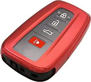 Red TPU 3/4 Buttons Key Fob Cover Case Jacket Skin Bag Glove Holder for 2018 2019 2020 Toyota Camry RAV4 Avalon C-HR Corolla 2017 Prius Remote