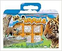 Multiprint Valija 7 Sellos para Niños Animali Selvatici, 100% Made in Italy, Set Sellos Niños Persolanizados, en Madera y Caucho Natural, Tinta Lavable no Tóxica, Idea de Regalo, Art.07933