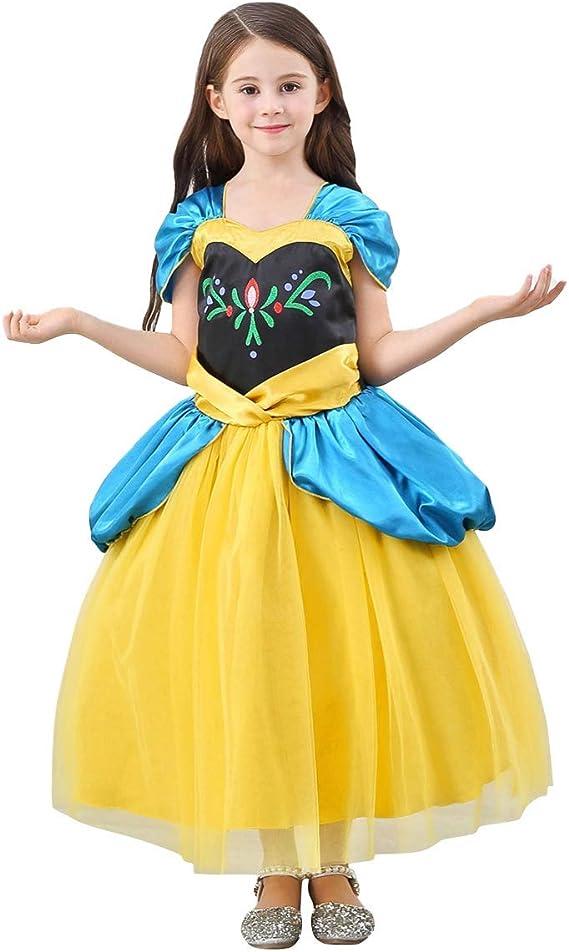 OBEEII Disfraz Ana Elsa Frozen Niña Princesa Anna Cosplay Costume ...