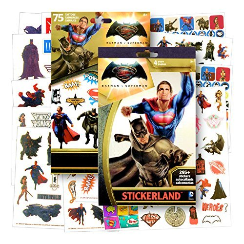 Temporary Five Tattoos - DC Comics Batman v Superman: Dawn of Justice 300 Stickers and 75 Temporary Tattoos