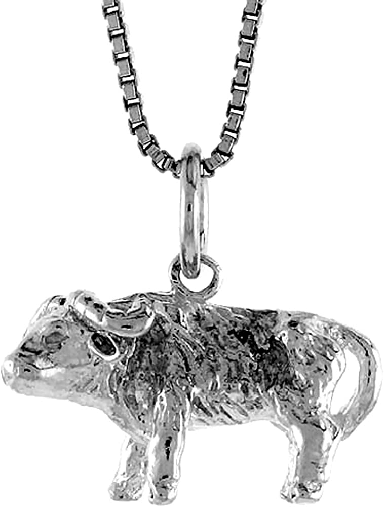 Sterling Silver Year of the OX Pendant Chinese Zodiac 1//2 inch Tall
