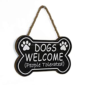 SANY DAYO HOME Dogs Welcome People Tolerated 10 x 6 inches Bone Shape Wood Decorative Plaque Funny Dog Signs with Hanging Rope for Wall and Door