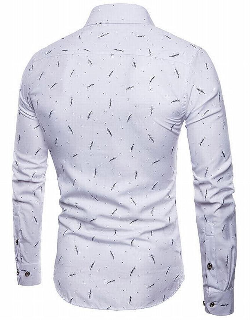 Rrive Mens Stylish Print Slim Fit Leisure Button Down Shirts