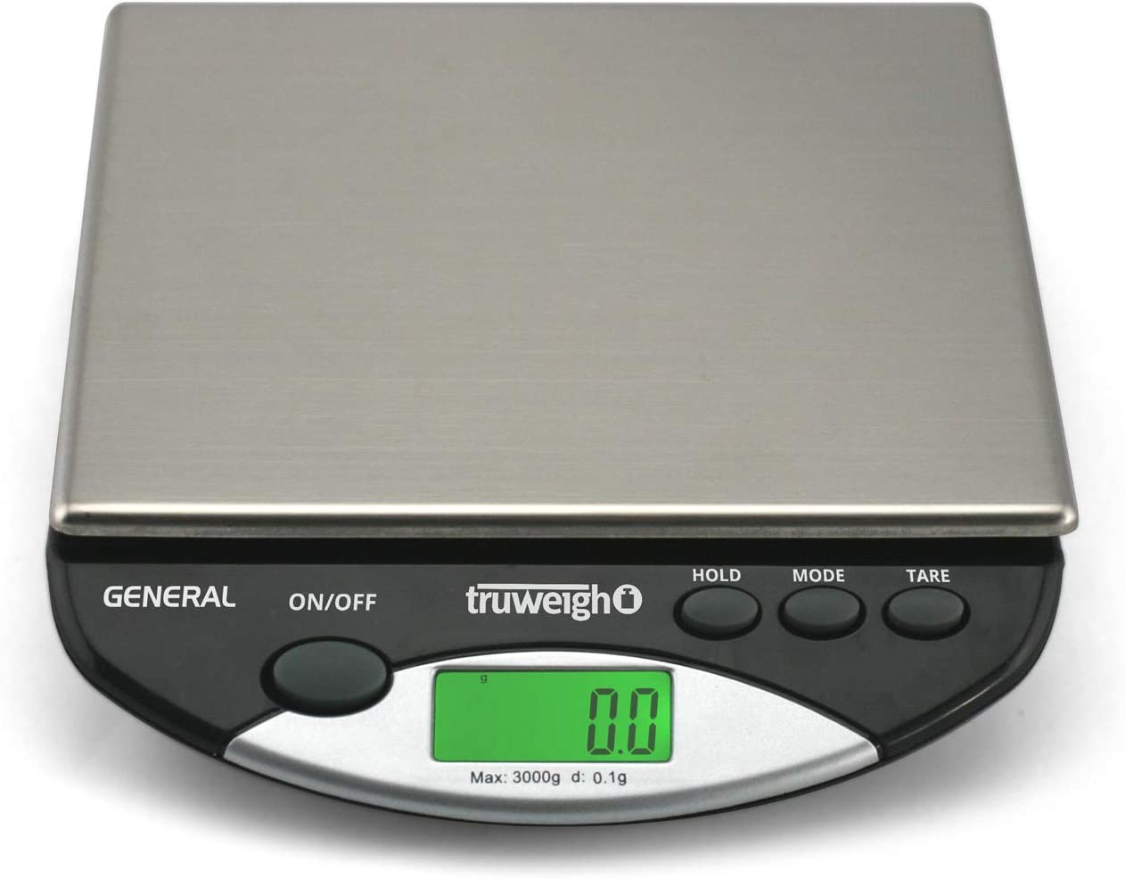 Truweigh - GENERAL Compact Bench Scale - 3000g x 0.1g - Black and Long Lasting Portable Grams Scale for Kitchen Scale, Food Scale and Postal Scale Use