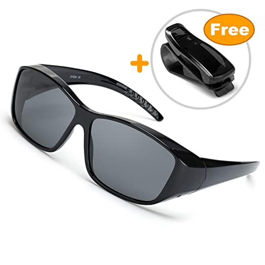 e430f04ba409 IGnaef Wrap Around Driving HD Polarized Glasses, Fit Over Rectangular  Glasses for,with Clip