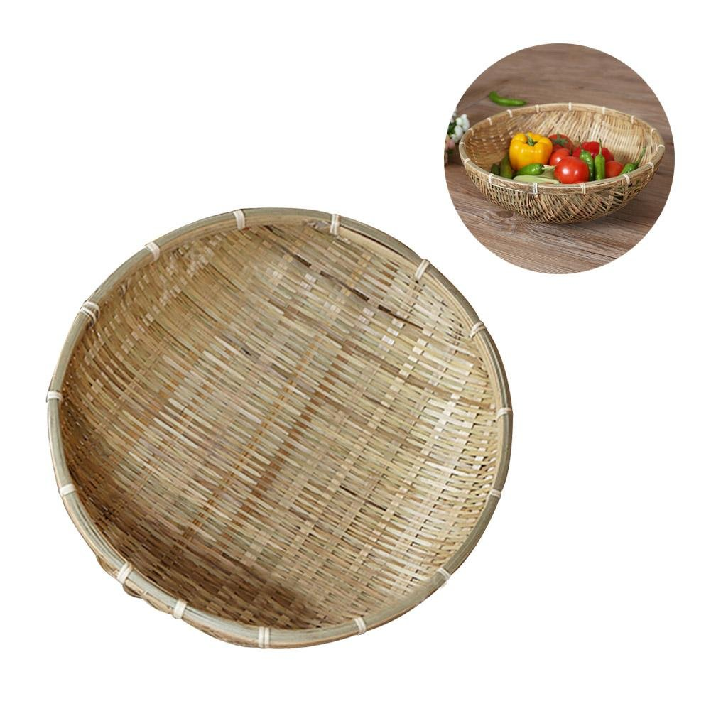 Storage Basket Handmade Natural Hand-woven Bamboo Baskets Dustpan Picnic Bamboo Basket Vegetables Drain Basket tebisi -123