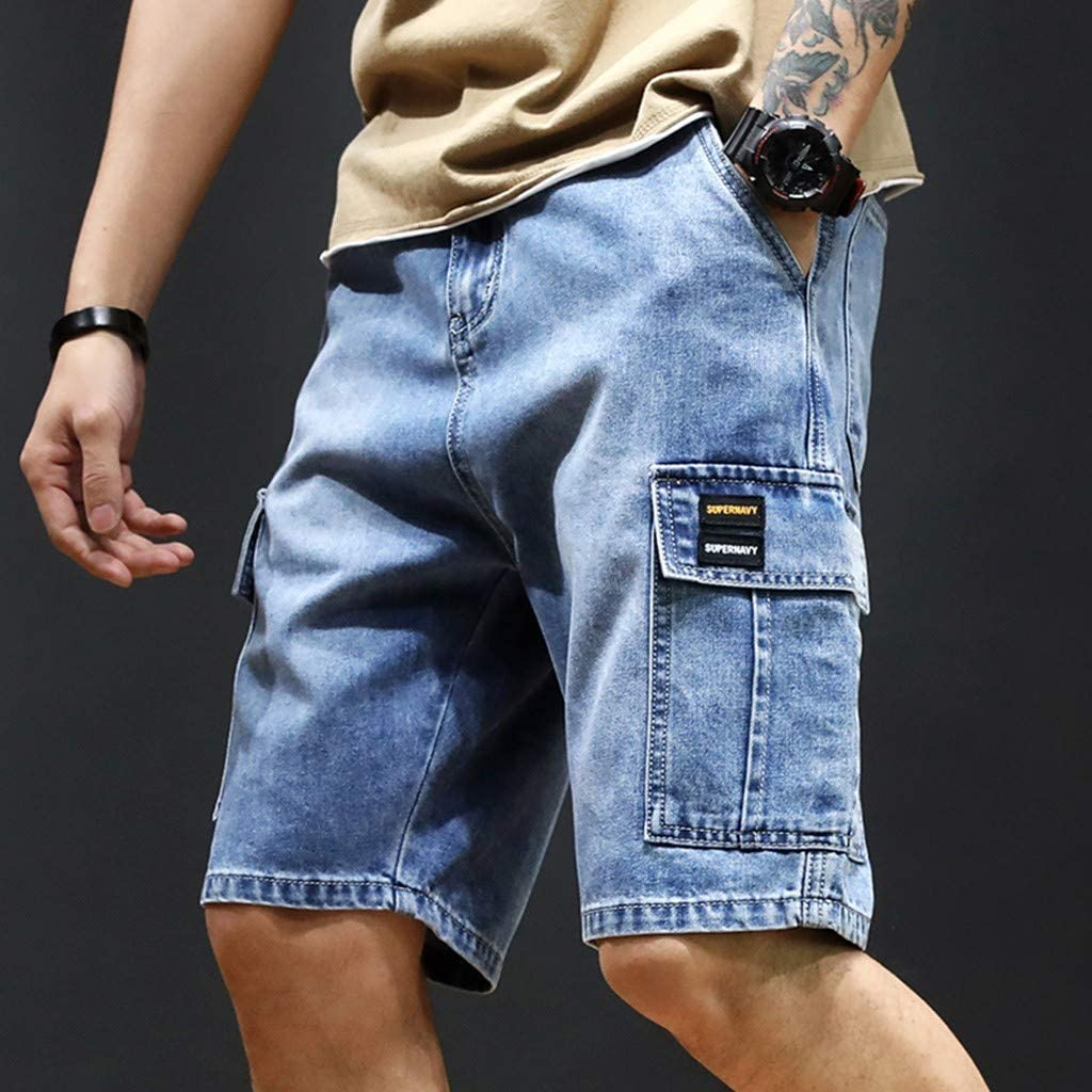 Hmlai Clearance Men Shorts Jeans Relaxed Fit Urban Big and Tall Lightweight Demin Cargo Shorts with Zipper Pocket