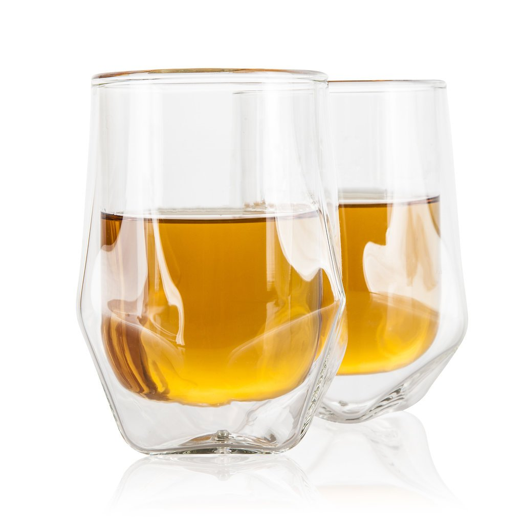 Bar Accessories Whiskey Glass Set: 2 Double Wall Insulated Barware Tumbler Glasses for Whisky, Bourbon, Scotch, Brandy, even Tea and Coffee Cocktail - Premium Crystal Lowball Drinking Glassware - 7 Oz