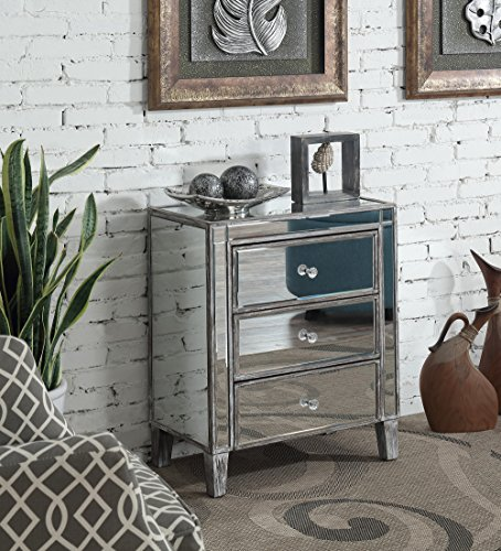 Convenience Concepts 413859WGY Gold Coast 3 Drawer Mirrored End Table, Weathered Gray