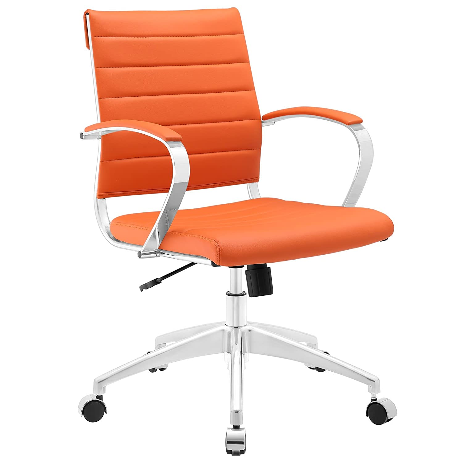 Modway Jive Ribbed Mid Back Computer Desk Swivel Office Chair In Orange