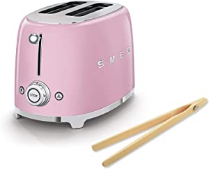 Smeg 50's Retro Style Toaster Bundle with Norpro Bamboo Tongs - 2 Slice (Pink)