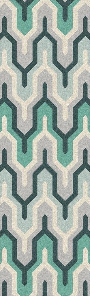 Surya Cosmopolitan COS-9175 Hand Tufted 100-Percent Polyester Geometric Runner Rug, 2-Feet 6-Inch by 8-Feet