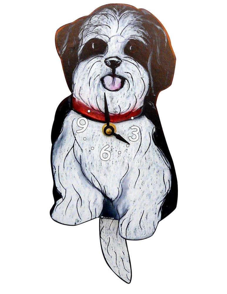 Swinging-Tail Pendulum Dog Clock – Black and White Shih Tzu